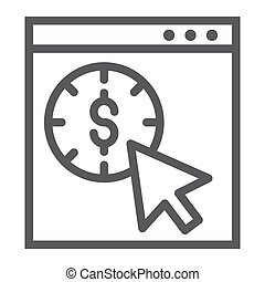 Pay per click line icon, seo and money, pointer sign, vector graphics, a linear pattern on a white background.
