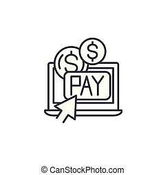 Pay per click linear icon concept. Pay per click line vector sign, symbol, illustration.