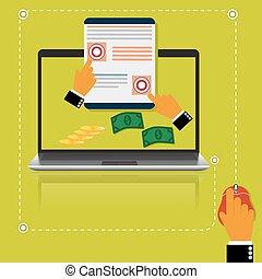 pay per click - Pay, per, click, internet, concept. vector...