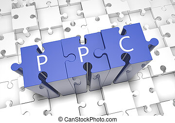 Pay per Click - puzzle 3d render illustration