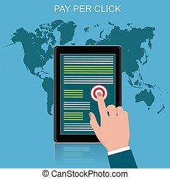 pay per click, tablet, vector
