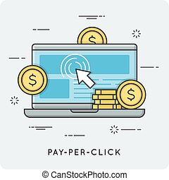 Pay per click. Thin line concept. Vector illustration