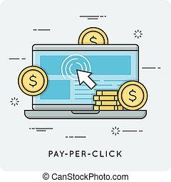 Pay per click. Thin line concept.