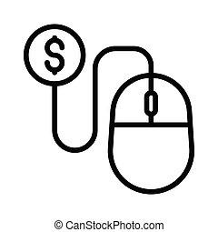 pay per click thin line icon