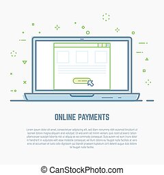 Pay per click line illustration. Online money payment in web...