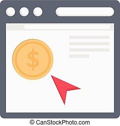 pay per click vector colour flat icon