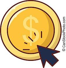 pay per click  vector flat colour icon