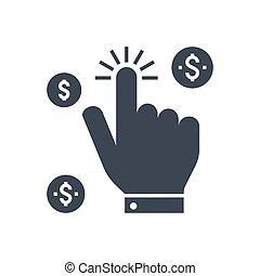 Pay Per Click Vector Glyph Icon