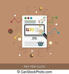Pay per click. Vector web design. - Pay per click flat web...
