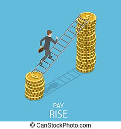 Pay rise flat isometric vector concept.