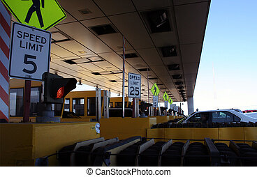 A Tollbooth off a public highway