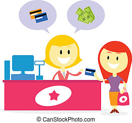 A Shopkeeper telling customer that they can accept payment in cash or credit card / Customer pay her shopping using credit card (in Flat Cartoon Style)