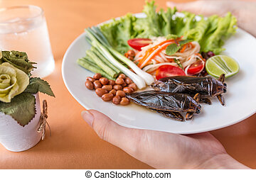 Paya Salad - Lethocerus indicus and Green Papaya Salad,...