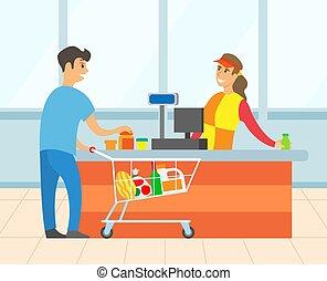 payant, achat, vecteur, mâle, supermarché