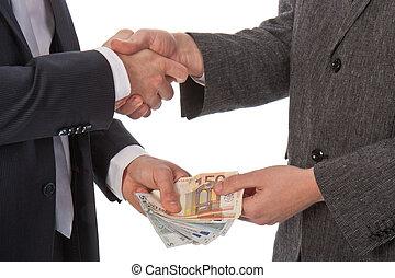 payant, argent, deux, hommes affaires