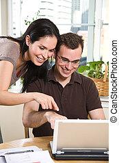 payant, banque, couple, factures, ligne
