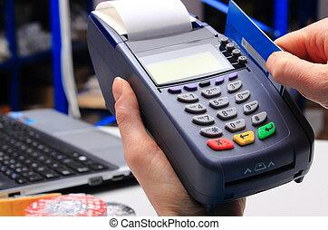 payant, concept, magasin, crédit, électrique, carte, finance