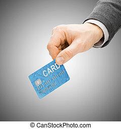payant, concept, -, main, crédit, mâle, carte