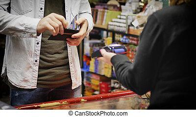 payant, crédit, contactless, carte, homme