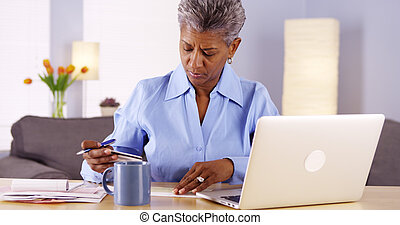 payant, femme, elle, mûrir, africaine, factures