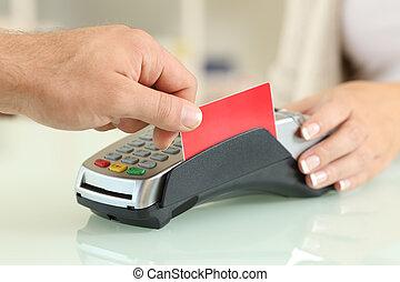 payant, magasin, crédit, lecteur, carte, homme