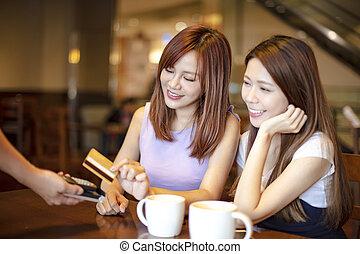 payant, magasin, femme, crédit, café, carte