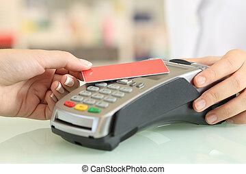 payant, magasin, femme, moins, crédit, contact, carte