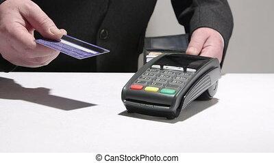 payant, personne affaires, crédit, utilisation, carte