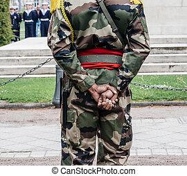 payant, soldat, appartenance ethnique noire, unrecognizable, tribut, vue postérieure