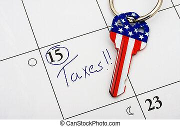 payant, ton, impôts, temps