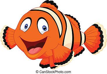payaso, caricatura, pez, lindo