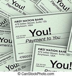 paychecks, geld, controles, inkomen, u, betaling