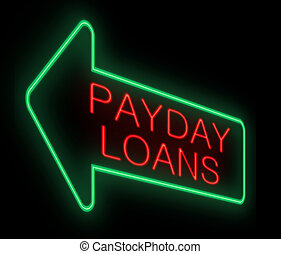 Payday loans concept. - Illustration depicting a neon sign...