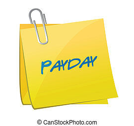 payday message on a post. illustration design over a white ...