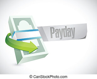 payday stack of money illustration design over a white ...