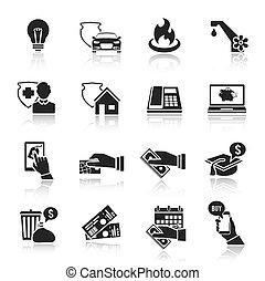 payer, ensemble, noir, note, icônes