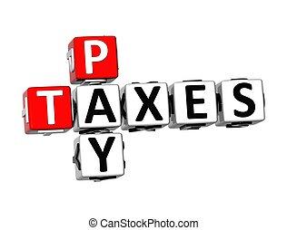 payer, mots croisés, impôts, 3d