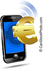 payer, par, mobile, cellule, intelligent, téléphone, euro