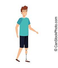 payez prothèse, caractère, homme