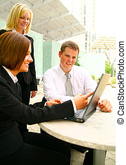 Paying Attention To Business Woman Showing Laptop