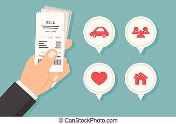 Paying bills, vector