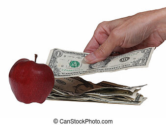 Paying cash for an apple