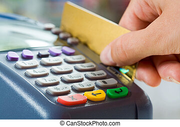 Paying for goods - Close-up of payment machine buttons with...