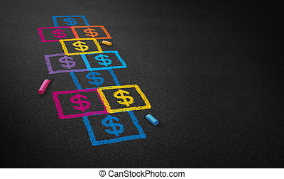 Paying for school concept and education financing business concept as a chalk drawing of a hopscotch game on a floor with dollar signs as a symbol of student loans and paying for affordable schooling fees in private and public system.