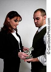 Paying him cash