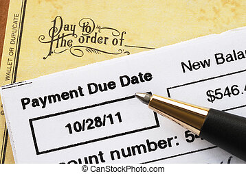 Paying the credit card bill on time concept of financial...
