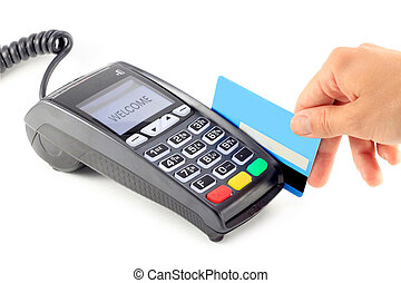 Paying with credit card on pos terminal