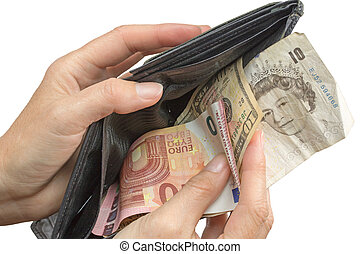 Paying with euros, pounds and US dollars