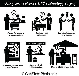 Paying with Phone NFC Cliparts