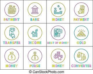 Payment and Bank Money Set Vector Illustration
